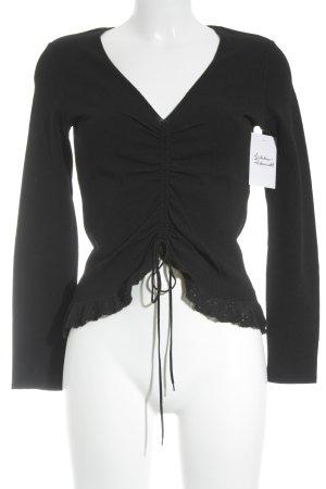 Marc Cain V-Ausschnitt-Pullover schwarz extravaganter Stil