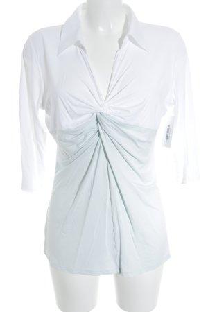 Marc Cain V-Ausschnitt-Shirt weiß-graugrün Casual-Look