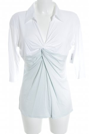Marc Cain V-hals shirt wit-grijs-groen casual uitstraling