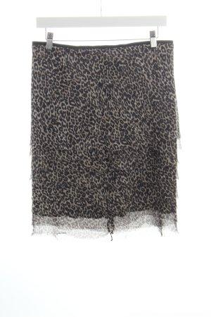 Marc Cain Jupe à volants noir-marron clair motif léopard style décontracté