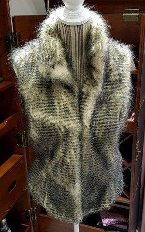 Marc Cain Weste Fellweste faux fur Synthetik Gr. 3 38 M L weiß beige schwarz