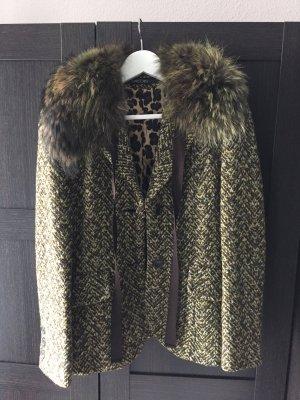 Marc Cain wollblazer Mantel Jacket Fell Fur kragen