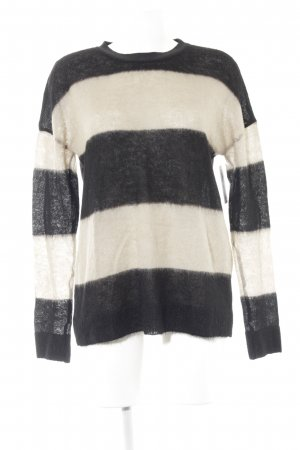 Marc Cain Wool Sweater camel-black striped pattern fluffy