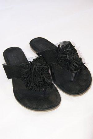 MARC Flipflops Sandalen Echtleder schwarz mit Puschel Größe 38