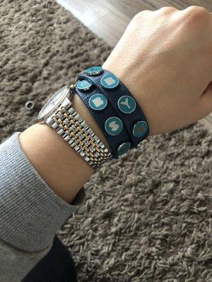 Marc by Marc Jacobs Bracelet en cuir bleu acier-argenté