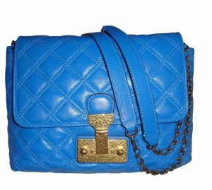 Marc Jacobs Baroque Quilted Leather Large Single Bag Leder Tasche blau neu