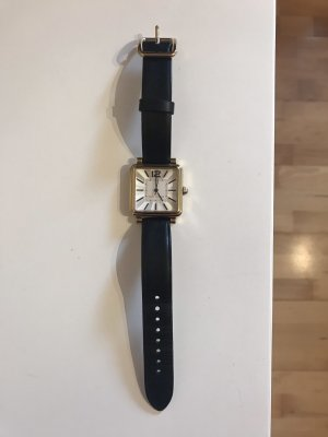 Marc Jacobs Damen Uhr Leder schwarz gold eckig