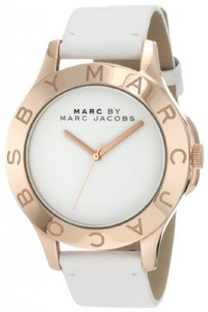 Marc by Marc Jacobs Watch With Leather Strap white leather