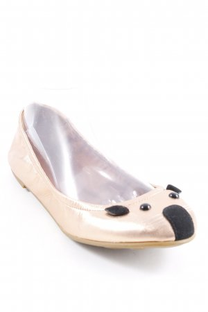 Marc Jacobs Ballerina pieghevole color oro rosa-nero impronta animale