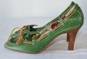 Marc Jacobs Escarpins à lacets vert forêt cuir