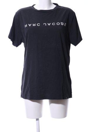 Marc Jacobs T-Shirt schwarz-weiß Schriftzug gedruckt Casual-Look