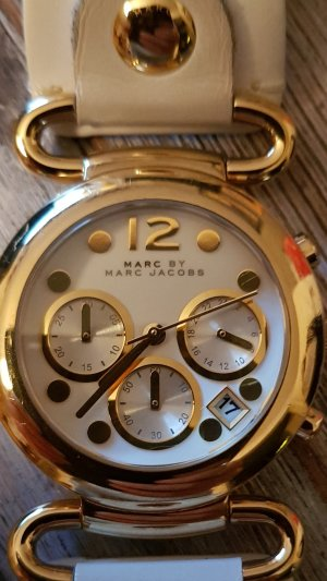 Marc by Marc Jacobs Reloj con pulsera de cuero blanco-color oro
