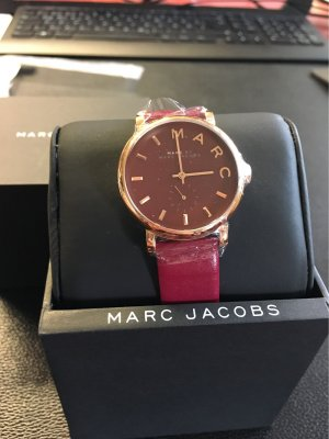 Marc Jacobs Watch With Leather Strap purple-gold-colored leather