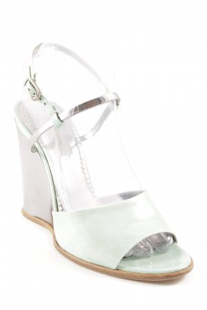 Marc Jacobs Wedge Sandals turquoise-silver-colored art pattern leather-look