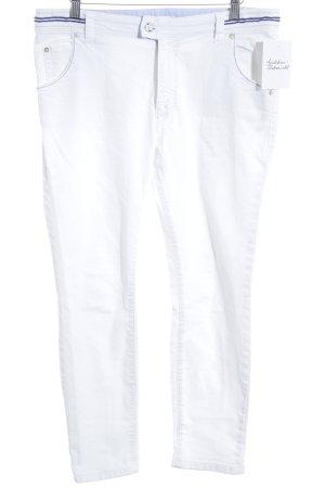 Marc O'Polo Pantalon 7/8 blanc-bleu foncé style décontracté
