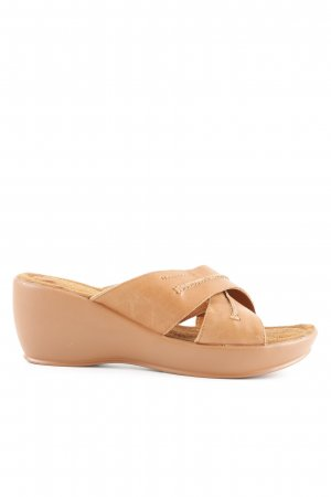 Marc O'Polo Heel Pantolettes cognac-coloured Gypsy style