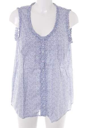 Marc O'Polo ärmellose Bluse weiß-blau florales Muster Street-Fashion-Look