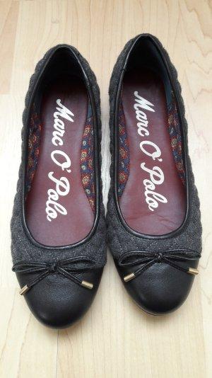 Marc O'Polo Ballerinas Leder Stoff Rautenmuster grau schwarz Schleife Gr. 36,5