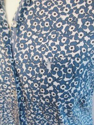 Marc O`Polo Bluse M 40 Blumen Blüten Blau Weiß Kurzarm Hemd Baumwolle Stretch Figurbetont Monogram