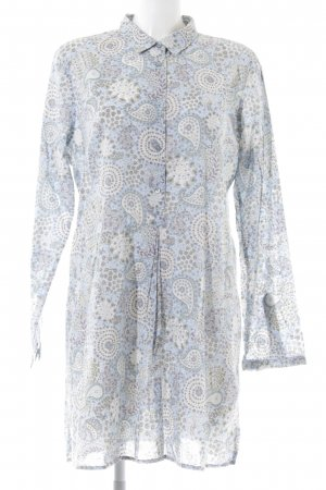 Marc O'Polo Blusenkleid blau-weiß Allover-Druck Vintage-Look
