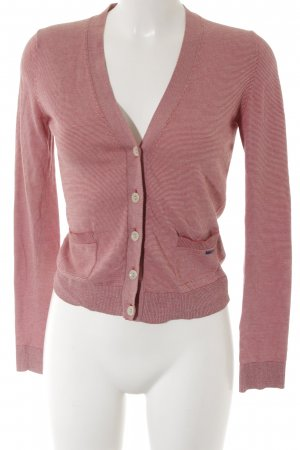 Marc O'Polo Cardigan hellrot-creme Streifenmuster Casual-Look