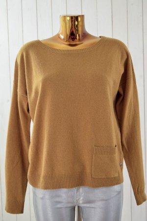MARC O'POLO Damen Pullover U-Ausschitt Wolle Cashmere Curry Braun Gr.M