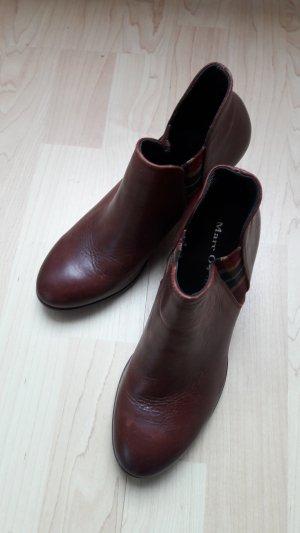 Marc O'Polo Echtleder Chelsea-Stiefeletten Ankle Boots Absatz 6,5cm weinrot Gr. UK4 (EU37)