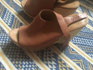 Marc 'O Polo Echtleder Holz Keilabsatz Sandale Clogs