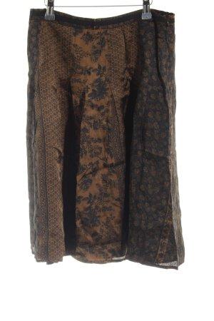 Marc O'Polo Jupe évasée noir-bronze motif de fleur style décontracté