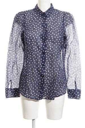 Marc O'Polo Hemd-Bluse dunkelblau-wollweiß Herzmuster Casual-Look