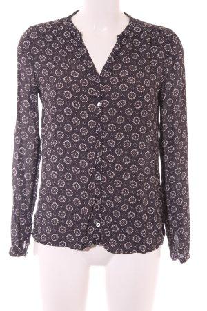 Marc O'Polo Hemd-Bluse dunkelgrau-weiß abstraktes Muster klassischer Stil