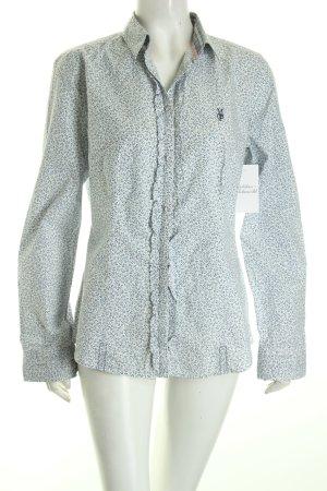 Marc O'Polo Hemd-Bluse weiß-blau abstrakter Druck Romantik-Look