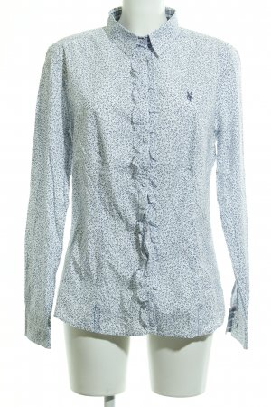 Marc O'Polo Hemd-Bluse weiß-dunkelblau florales Muster Business-Look