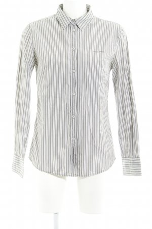 Marc O'Polo Hemd-Bluse weiß-graubraun Streifenmuster Casual-Look