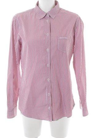 Marc O'Polo Hemd-Bluse weiß-ziegelrot Streifenmuster Casual-Look