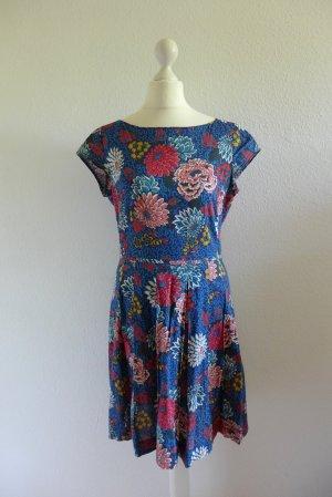 Marc O'Polo Kleid Falten Boho Sommer Blumen blau rot weiß Gr. 36 S