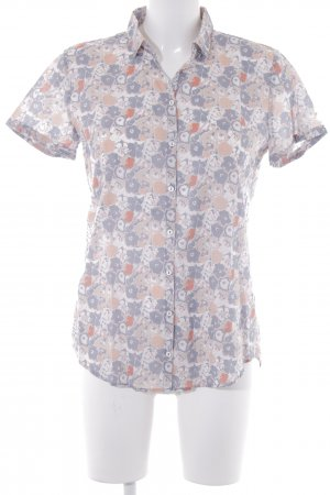 Marc O'Polo Kurzarm-Bluse graublau-apricot florales Muster Casual-Look