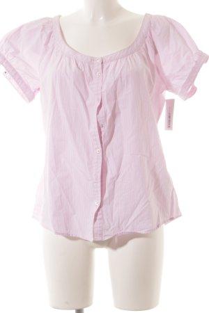 Marc O'Polo Kurzarm-Bluse rosa-weiß Streifenmuster Street-Fashion-Look