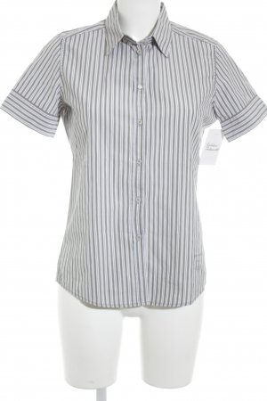 Marc O'Polo Kurzarm-Bluse weiß-graubraun Streifenmuster Business-Look
