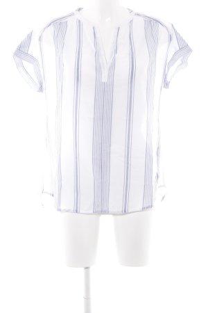 Marc O'Polo Kurzarm-Bluse weiß-himmelblau Streifenmuster Casual-Look