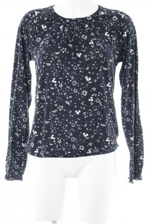 Marc O'Polo Langarm-Bluse dunkelblau-weiß florales Muster Casual-Look