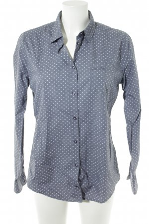 Marc O'Polo Langarm-Bluse graublau-weiß Monogram-Muster Casual-Look