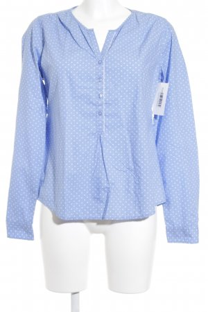 Marc O'Polo Langarm-Bluse weiß-himmelblau Punktemuster Casual-Look