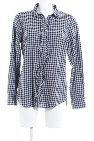 Marc O'Polo Langarmhemd dunkelblau-hellgrau Vichykaromuster Casual-Look