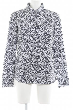 Marc O'Polo Langarmhemd dunkelblau-weiß florales Muster Casual-Look