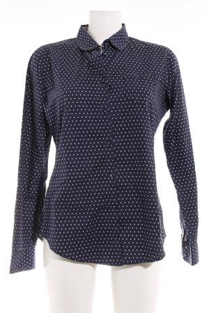 Marc O'Polo Langarmhemd dunkelblau-weiß Punktemuster Casual-Look