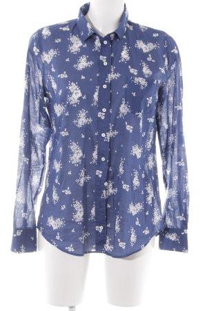 Marc O'Polo Langarmhemd stahlblau-weiß Blumenmuster Business-Look