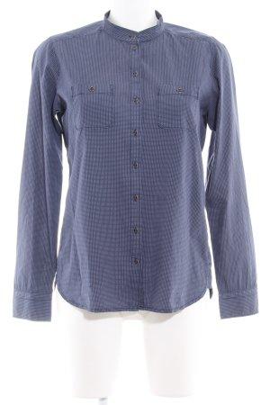 Marc O'Polo Langarmhemd stahlblau-wollweiß Punktemuster Casual-Look