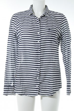 Marc O'Polo Langarmhemd weiß-dunkelblau Streifenmuster Casual-Look