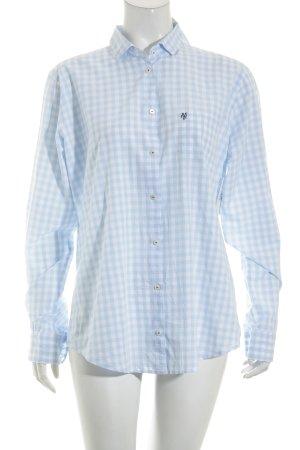 Marc O'Polo Shirt met lange mouwen wit-azuur geruite print casual uitstraling